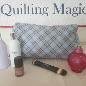 Make up bag-blue tartan