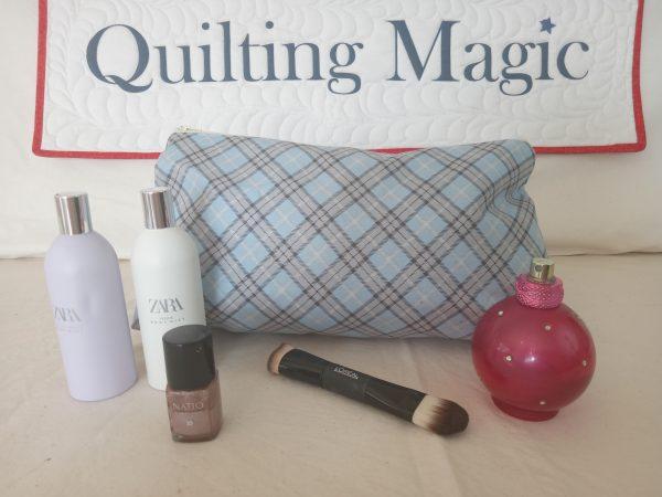 Make up bag-blue tartan
