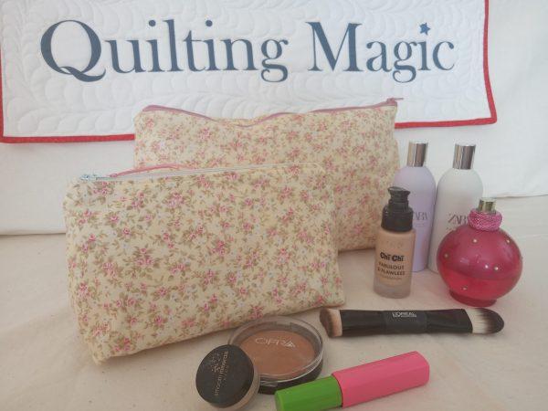 Make up bag-yellow pink rose set