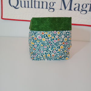 Square fabric storage box 6x6 inch, Green & circles