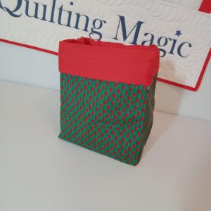 Square fabric storage box 7x7 inch, Red green xmas