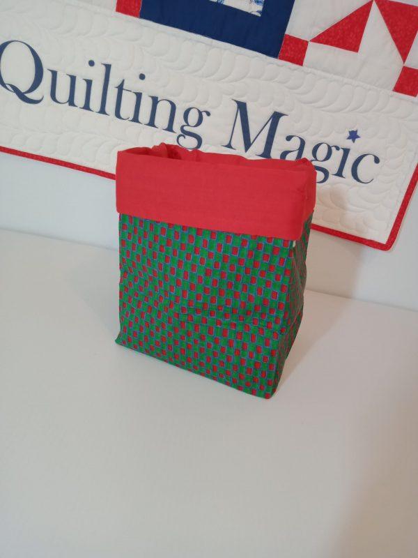 Square fabric storage box 7x7 inch, Red green xmas