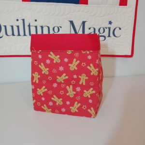 Square fabric storage box 7x7 inch, Red xmas