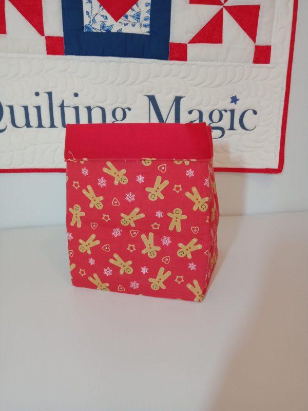 Square fabric storage box 7x7 inch, Red xmas