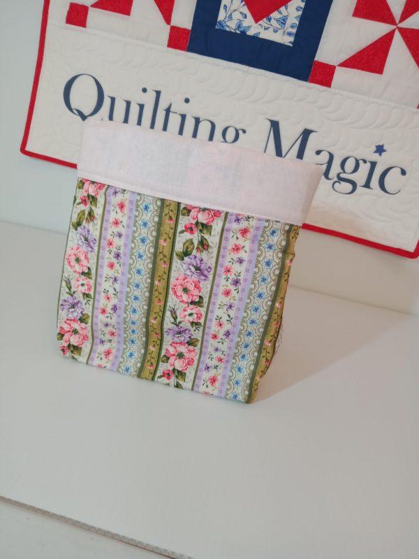 Square fabric storage box, floral, 7x7inch