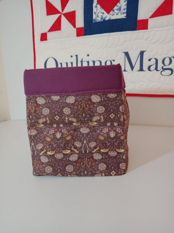 Square fabric storage box, purple 7x7inch
